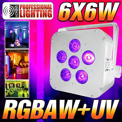 16 Hour LED Battery Powered Wireless DMX - 6x6 watt RGBAW+UV - White Case - LED Up Light - Weddings - Stage Light - Dj Light