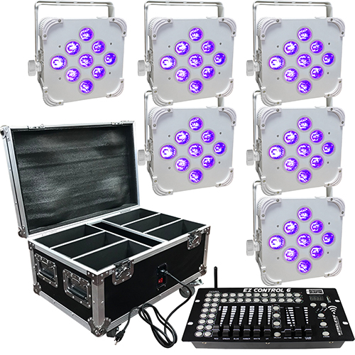 Wedding Up Lighting - 6 - 9x6w - LED Battery Powered Wireless Lights and Case