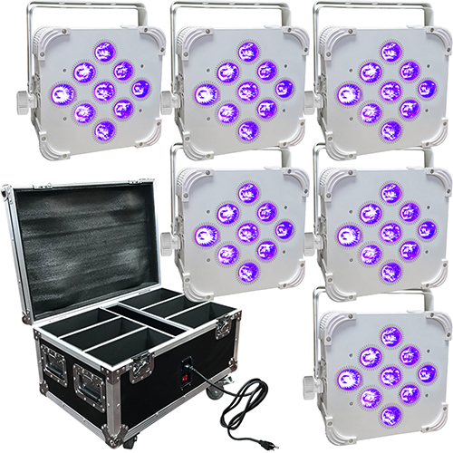 Wedding Up Lighting - 6 - 9x6w LED Battery Powered Wireless Lights and Case