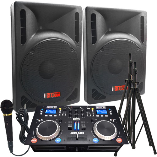 2000 watts complete dj system everything you need to dj. Black Bedroom Furniture Sets. Home Design Ideas