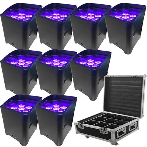 LED Battery Powered Wireless DMX - 16 Hour - 9 Lights w/Case - 6x6W RGBAW+UV - Wedding Up Lights