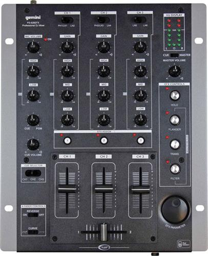 Gemini Professional 3 Channel Stereo Dj Mixer With Effects