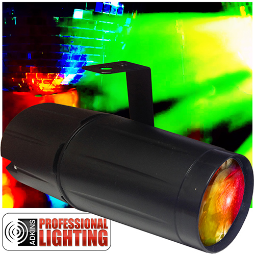 adkins professional lighting led color changing pinspot