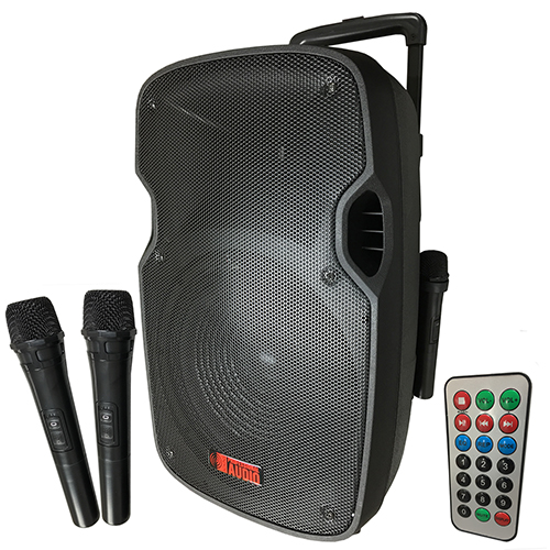 battery powered portable pa system with 2 wireless microphones. Black Bedroom Furniture Sets. Home Design Ideas