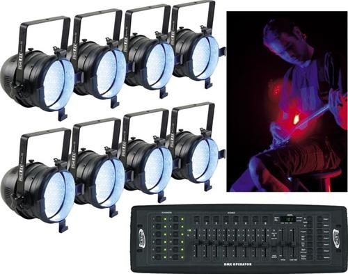 American DJ 8 PAR64 LED Package with Free DMX Controller