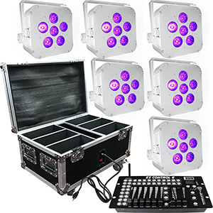 Wedding Up Lighting - 6 - 6x6w LED Battery Powered Wireless Lights and Case
