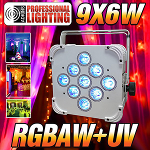 LED Up Light - 16 Hour LED Battery Powered Wireless DMX - 9x6w RGBAW+UV (White Case) - Weddings - Stage Light - Dj Light