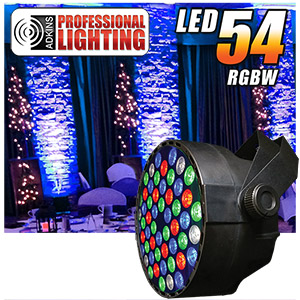 Adkins Pro Lighting LED 54 RGBW Color Mixing LED Par Can