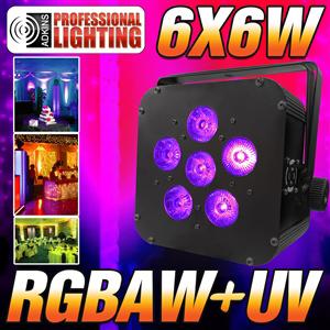 16 Hour LED Battery Powered Wireless DMX - 6x6 watt RGBAW+UV - Black Case - LED Up Light - Weddings - Stage Light - Dj Light