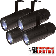 Adkins Professional Lighting LED Pinspot 3W - 4 Pack