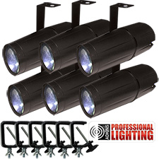 Adkins Professional Lighting LED Pinspot 3W - 6 Pack