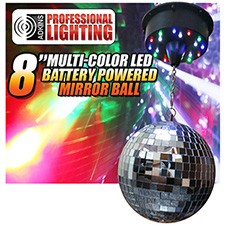 Adkins Pro Lighting 8in Hanging Mirror Ball LED Light