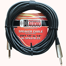 "25 Foot Speaker Cable 1/4"" to 1/4"" - Adkins Professional Audio"