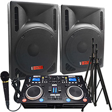 "2000 Watts! - Complete DJ System - Everything you need to DJ - 12"" Powered Speakers -  Connect your Laptop, iPod or play CD's!"