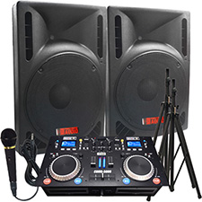 "2400 WATTS! The Ultimate DJ System - Connect your Laptop, iPod or play CD's! - 15"" Powered Speakers - Everything you need!"
