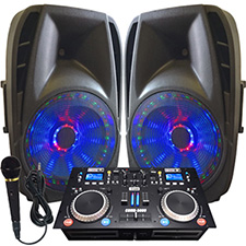 "Light Em' Up! - Lighted Powered 15"" DJ System - 1600 Watts"