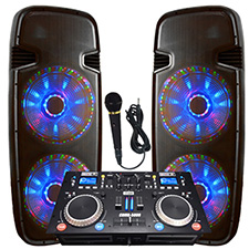 "Light Em' Up! - Lighted Powered Dual 15"" DJ System - 6000 Watts"