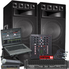Virtual DJ Software and Big Speaker DJ System Package - 4100 Watts