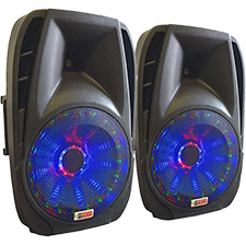 "Lighted Powered 15"" DJ Speaker - 1600 Watts Total"