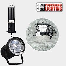 8 inch Disco Ball Party Kit - W/Battery Powered Motor