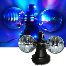 360 Degree LED Twin Disco Mirror Ball Kit