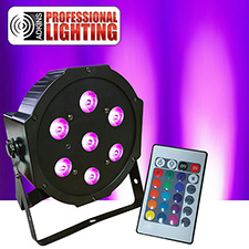 LED FlatPar 7x10 Watt Quad RGBW Par Light w/ Remote Control- Up-Lighting