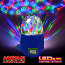 Adkins Novelty Lighting LED RGB Rotating Night Lamp