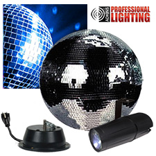 "12"" Mirror Ball Party Kit - LED Pinspot"