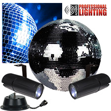 "12"" Mirror Ball Party Kit - Dual LED Pinspot"