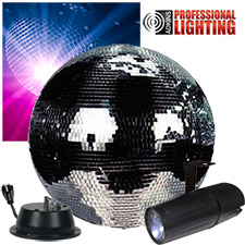 "16"" Mirror Ball Party Kit - LED Pinspot"