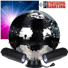 "16"" Mirror Ball Party Kit - Dual LED Pinspot"