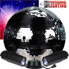 "20"" Mirror Ball Party Kit - Dual LED Pinspot"
