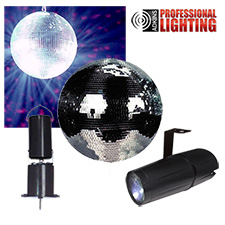 "8"" Mirror Ball Party Kit - LED Pinspot"