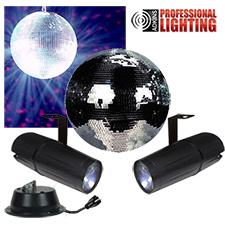 "8"" Mirror Ball Party Kit - Dual LED Pinspot"