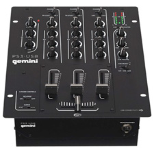 Gemini PS3-USB Professional 3-Channel DJ Mixer with USB