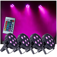 Up-Lighting System - Four 7 x 10 watt RGBW FlatPar Quad Up Lights