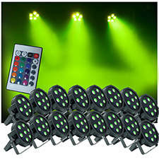 Up-Lighting System 16 FlatPar Quad Color 7 x 10 watt RGBW