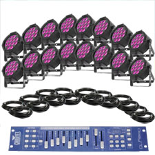 Deluxe Large Venue Up-Lighting System - Chauvet SlimPar Tri 12 irc X16