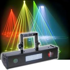 American DJ Fusion FX 4 LED - Wash, Strobe, Tri Color Moonflower, Green Laser