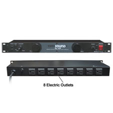 Gem Sound GL99 Rackmount 1U Dual Tube Light 8-Outlet Power Panel