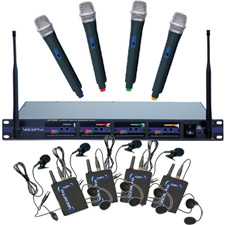 VocoPro UHF-5800-PAK 4-Channel Wireless Microphone System