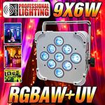 LED Up Light - 16 Hour LED Battery Powered Wireless DMX - 9x6w RGBAW+UV (White Case) - Weddings - Stage Light - Dj Light
