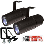 Adkins Professional Lighting LED Pinspot 3W - 2 Pack with C-Clamps