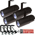 Adkins Professional Lighting LED Pinspot 3W - 4 Pack with C-Clamps