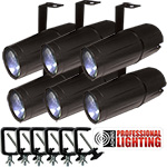 Adkins Professional Lighting LED Pinspot 3W - 6 Pack with C-Clamps