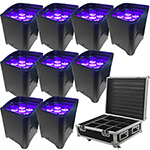 LED Battery Powered Wireless DMX - 16 Hour - 9 Lights w/Case - 6x6W RGBAW+UV - Wedding Up Lights