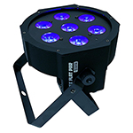 Ultra Bright LED FlatPar 7x10 Watt Hex RGBAW SlimPar Light - w/Remote Control - Up-Lighting - Stage Lights - Adkins Professional Lighting