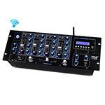 Pyle Pro 4-Channel Bluetooth DJ Mixer with USB Flash, SD Memory Card Readers & LCD Digital Display