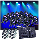 Up-Lighting System -12 American DJ Up Lights w/Easy Controller