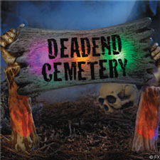 """Deadend Cemetery"" Color Changing Yard Sign - Halloween Decorations"